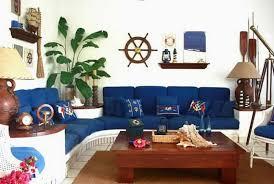Nautical Living Room Sofas by Tropical Nautical Living Room With Blue Sofa And Housplant Also