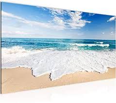 wandbilder strand meer modern vlies leinwand wohnzimmer flur welle beige blau 607312c