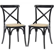 nordal stuhl aus holz mit rattan sitzfläche schwarz 2er set