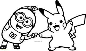 Colossal Pikachu Coloring Pages With Minion Dance