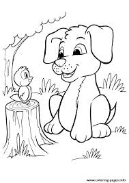 The Pup And Bird Puppy Coloring Pages Print Download