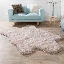 fellteppich kunstfell imitat flokati stil langflor teppich wohnzimmer beige