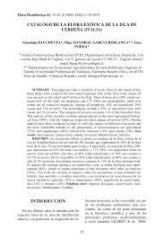 PDF Catálogo De La Flora Exótica De La Isla De Cerdeña Italia