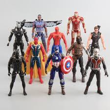 Online Shop Avengers Captain America Civil War Iron Man Ant Falcon Spiderman Machine PVC Action Figure Model Toys 10 Pcs Set 16cm