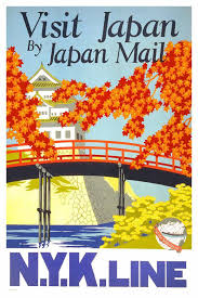 Vintage Tourism Poster By NYK Line Visit Japan Mail