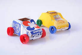 Recycled Juice Cartons And Plastic Bottle Caps Make Great Toy Cars