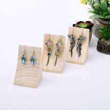 Wood Curve Shape Drop Earrings Display Holder Stand Jewelry In Packaging From