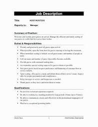 Host Job Description Restaurant Resume Sample Hostess For Wedding Of Knowing Like
