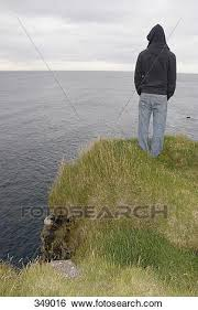 Stock Images Of Person Standing On Edge Cliff Looking At