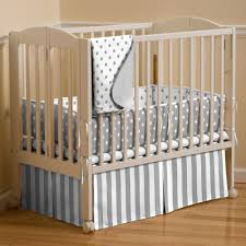 Gray and White Dots and Stripes Portable Crib Bedding