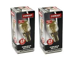 2x eveready 25w e14 ses clear 240v oven appliance bulb 300 degree