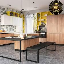 moderne küche designerküche mit kochinsel und essplatz holzoptik walnuss weiß gelb