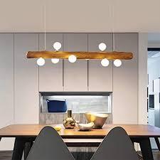 led pendelleuchte aus holz rustikal esstisch hängeleuchte moderne hängele aus glas mit g4 glühle höhenverstellbar 8 flammig deckenleuchte für
