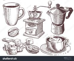 Coffee Set Collection Of Hand Drawn Sketches In Engraving Style Cup Maker