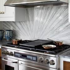 White Glass Tile Backsplash White Countertop With Dark Wood