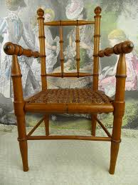 Antique original French faux bamboo armed dolls chair of appr 1890