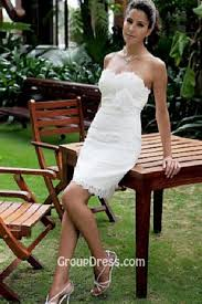 Strapless Slim Short Rustic Wedding Dress Ivory Lace