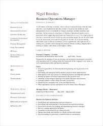 Business Operations Manager Resume Sample
