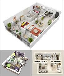 Sims 3 Floor Plans Small House by 10 Awesome Two Bedroom Apartment 3d Floor Plans Decor