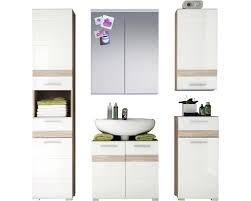 badmöbelset set one 5 teilig 160 cm weiß hochglanz eiche sanremo waschbeckenunterschrank hochschrank spiegelschrank unterschrank und wandschrank