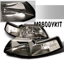 99 04 mustang headlights black no pair clear reflector