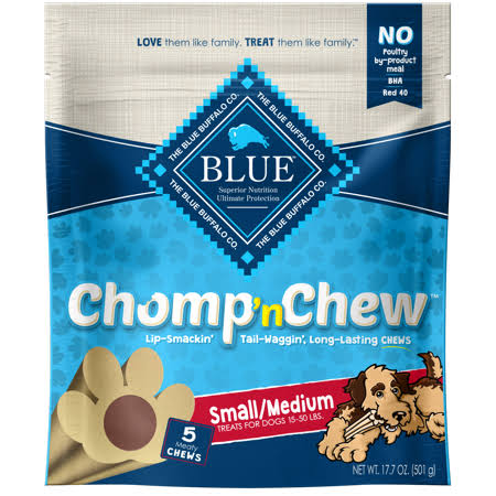 Blue Chomp 'n Chew Treats for Dogs, Meaty Chews, Small/Medium - 5 chews, 17.7 oz