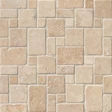 Scabos Travertine Natural Stone Wall Tile by Tuscany Ivory Travertine Mini Versailles Tumbled Mosaic Tile