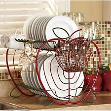 Red Dish Drainer Apple Kitchen Decor Sets