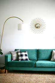 Karlstad Sofa Leg Hack by Our Statement Sofa Comfortworks Green Velvet Ikea Sofa Cover