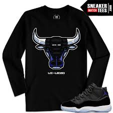 100 Space Jam Foams Match Jordan 11 Bull Black Long Sleeve Shirt