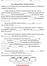 Halloween Mad Libs For 3rd Grade by Fill In Halloween Story A Scary Night Gr 2 4 Teachervision