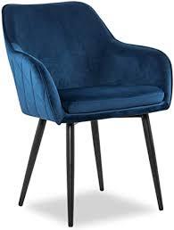 salesfever esszimmerstuhl freja in blau bezug in samt optik armlehnstuhl gepolstert mit steppung gestell metall schwarz