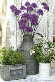 Front Door Plant Rustic Galvanized Metal Porch Planters Flower Pots Full Size