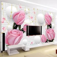 nach 3d tapete moderne einfache rosa blumen wandbilder wohnzimmer tv sofa schlafzimmer romantische wohnkultur wand papiere für wände