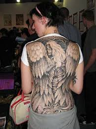 Dark Angel Wings Back Tattoo For Girls