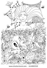 Vector Illustration Zen Tangle Girl With Freckles Sleeps Under The Flowers Doodle Badger Animal