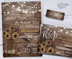 Sunflower Wedding Invitatons Rustic Invitations