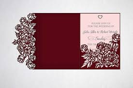 Tri Fold Wedding Invitation Svg Dxf Laser Cut Template KArtCreation Crafters Paper Cutting