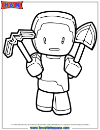 Steve Holding Pickaxe And Shovel Weapons Coloring Page