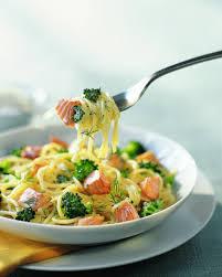 cuisiner le brocolis recette spaghettis au saumon frais et brocolis