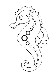 Sea Animals Seahorse With Dotted Line Art Patern Coloring Page