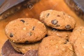 Fresh Cookies On A Tray Rackcookie Closeup Shot Stock Photo