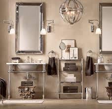 Restoration Hardware Mirrored Bath Accessories by Venetian Beaded Mirror