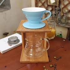 DIY Pour Over Coffee Maker Sets V 60 Dripper Glass Server Bamboo