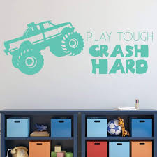 100 Monster Truck Bedroom Amazoncom Wall Decal Play Tough Crash Hard Vinyl