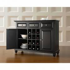 Long Black Sideboard Rustic Buffet Table Dining Room Hutch With Wine Rack Server Furniture Cabinets