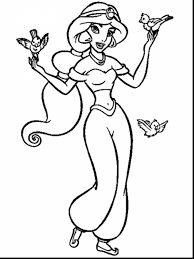 Superb Disney Princess Jasmine Coloring Pages With Aladdin And Genie