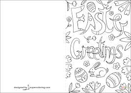 Click The Doodle Easter Greetings Card Coloring Pages