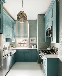 Blue Small Kitchen Decoration Using Light Wood Shabby Chic Cabinets Including