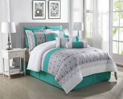 Bed Comforter Set by 10 Piece Luna Teal Gray White Reversible Comforter Set Teal